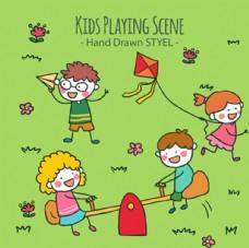 简笔儿童节草坪玩耍的孩子