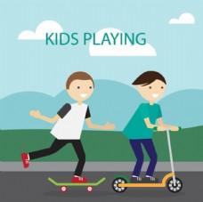 卡通儿童节玩滑板车的孩子