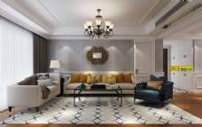 美式客厅及沙发背景墙