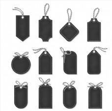 12款黑色空白吊牌设计矢量素材