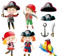 卡通儿童节装扮海盗配件元素