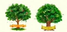 手绘水彩彩带树木插图