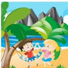 卡通儿童节在沙滩玩耍的孩子