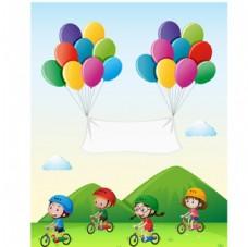 卡通儿童节骑自行车的孩子
