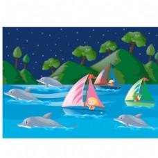 卡通儿童节晚上坐帆船的孩子