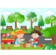 卡通儿童节在公园种花的孩子