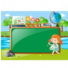 卡通儿童节绘制黑板报的女孩
