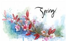 手绘水彩春季花卉花枝背景