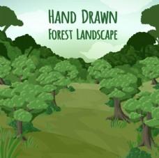 卡通绿色森林春季插图