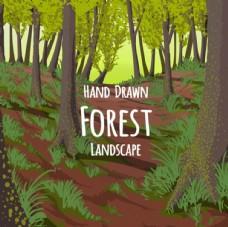 卡通春季绿色森林插图