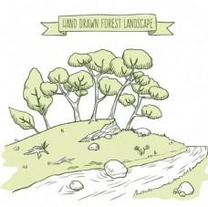 手绘素描春季小溪树林插图