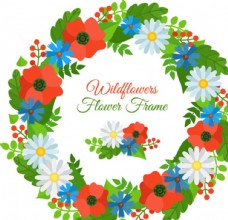 手绘卡通春季花卉花环