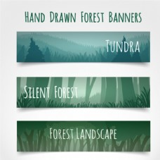 三款春季绿色森林横幅