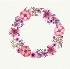 手绘水彩春季花卉花环