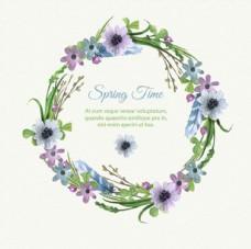 手绘水彩春季花环花卉