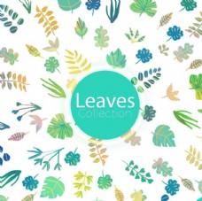 卡通春季绿色叶子背景