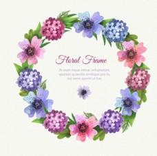 手绘水彩春天的花环花卉