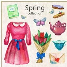 手绘水彩春季女性元素