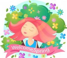 卡通春季鲜花少女插图