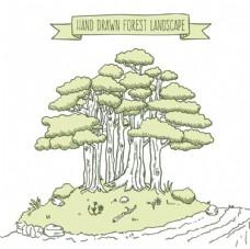 手绘素描春季小树林插图