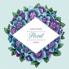 手绘水彩春季花卉菱形框架