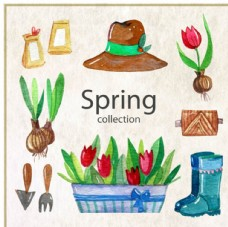 手绘水彩春季花卉种植元素