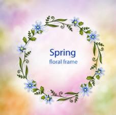 朦胧背景春季花环