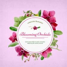 手绘水彩春季花卉框架