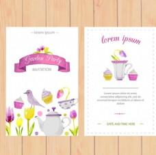 手绘水彩春季花卉派对海报