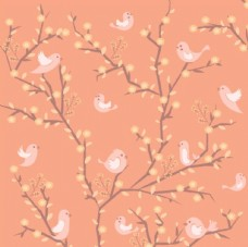 卡通春季花鸟背景