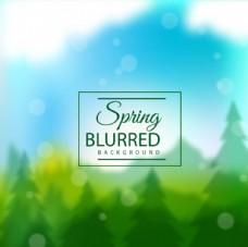 春季绿色树林海报