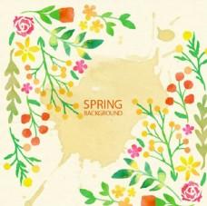 水彩春季花草背景
