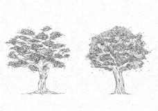 两棵手绘复古风格春季树木