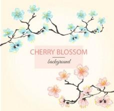 手绘春季樱花背景