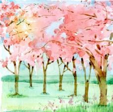 手绘水彩春季樱花林