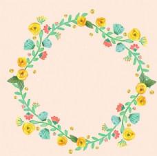 水彩粉底春季花卉花环
