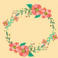 水彩春季花卉花环