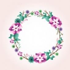 卡通粉底春季花卉花环