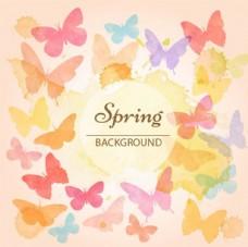 水彩春季五彩蝴蝶