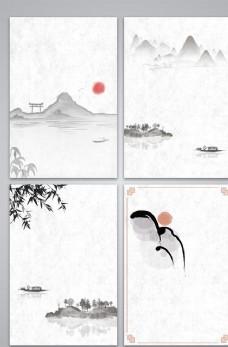 矢量水墨中国风古风传统山水背景