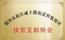 野狐坡 扶贫 互助 协会 铜牌