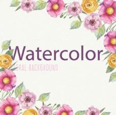 手繪水彩春季花卉背景