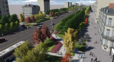 城市道路绿化景观设计效果图