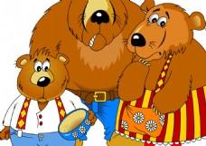 手绘棕熊的一家人