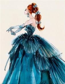 蓝色抹胸礼服