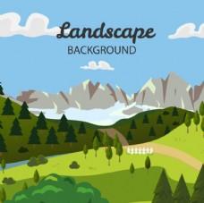 卡通春季森林山谷海报