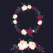 黑底紫色春季花卉花环