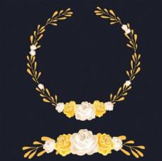 黑底黄色春季花卉花环