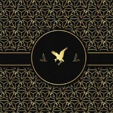 四方连续金色春季小鸟背景