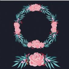 黑底粉色春季花卉花环